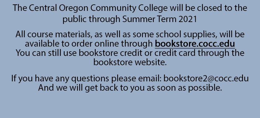 Bookstore closed to public through Summer term